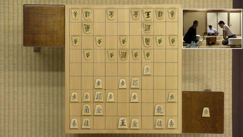 居角左美濃:叡王戦(羽生善治vs屋敷伸之)の▲3五歩までの局面図